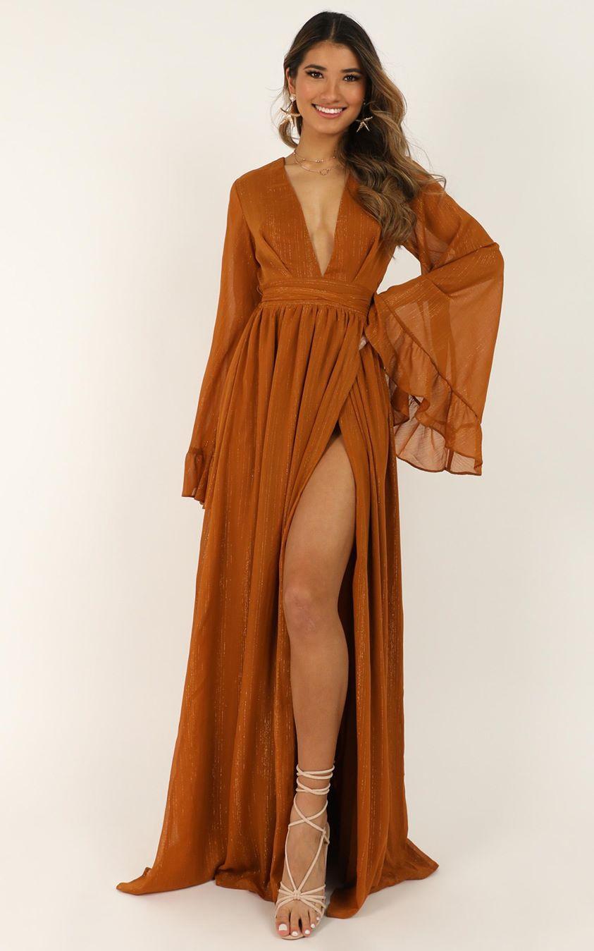 Showpo Dangerous Woman Dress In rust - 6 (XS) Dresses