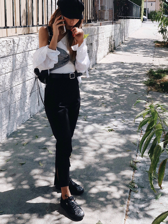 neon blush blogger top pants belt shoes fall outfits hat black pants white shirt sneakers