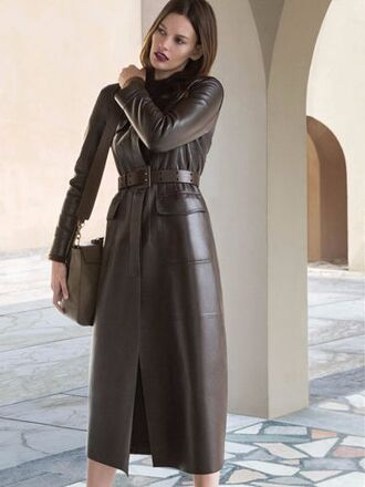coat trussardi designer amanda murphy campaign fall winter outfits winter 2015 winter outfits winter 2015 trends fall outfits model 2016 trends made in italy luxury italian european style elegant classy classic nappa leather leather coat brown brown leather
