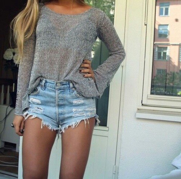 Shorts Light Jeans Denim Ripped Ripped Outfit Summer Tumblr Love Cute Denim Shorts ...