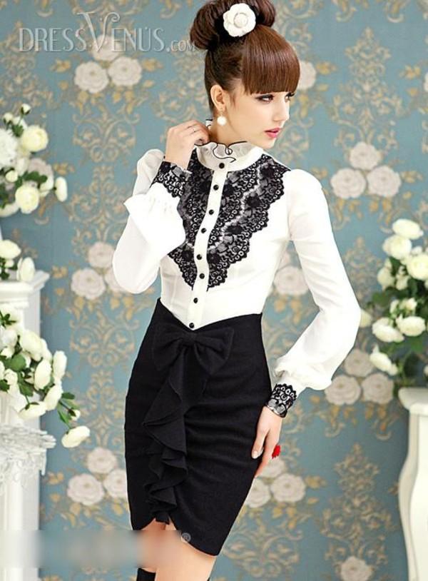 skirt ruffle bow bodycon skirt black pencil skirt