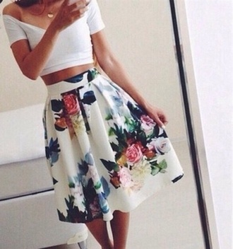 skirt floral skirt floral long skirt brow knee skirt