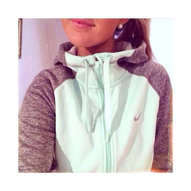 30a1f676c505 jacket teal nike nike sweater mint sweater zipup sportswear grey nikerun sweater  top nike air hoodie