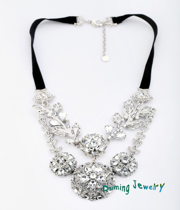 Free Shipping Statement Austrian Crystal Flower Necklace Choker Luxury Black Ribbon Bridal Party Costume Jewelry For Women BN302-in Choker Necklaces from Jewelry on Aliexpress.com