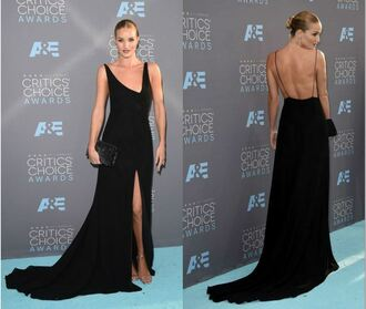 dress gown rosie huntington-whiteley slit dress backless dress long prom dress long dress black dress