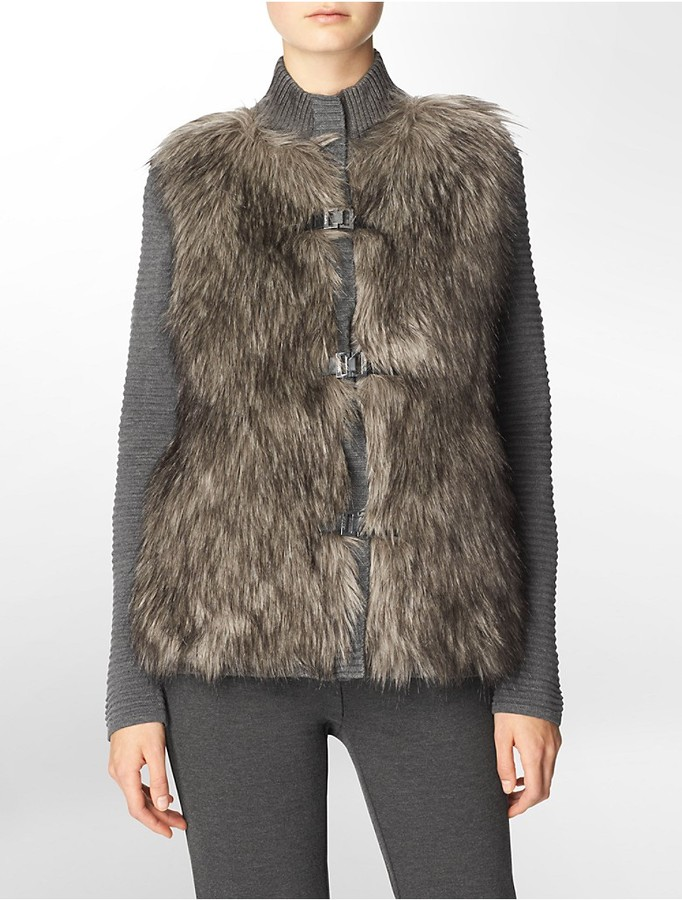 Calvin klein faux fur zip   buckle sweater vest