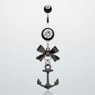 jewels belly button ring anchor bows blouse