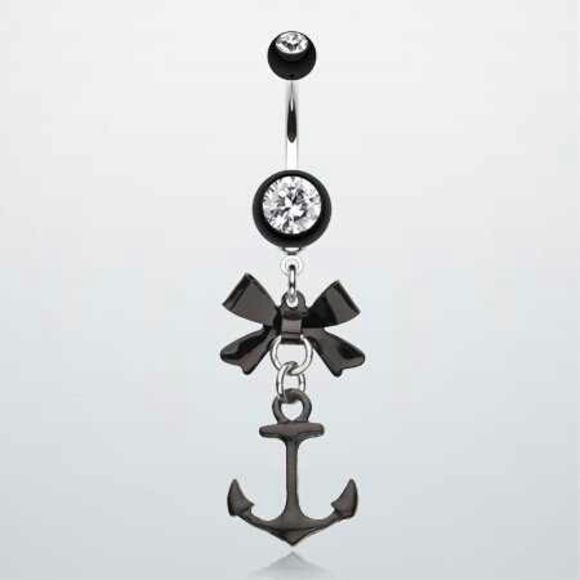 jewels anchor belly button ring bow