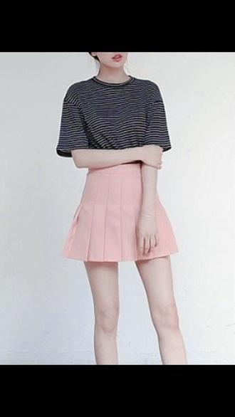 top skirt pastel stripes