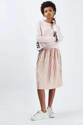 skirt,midi skirt,metallic pleated skirt