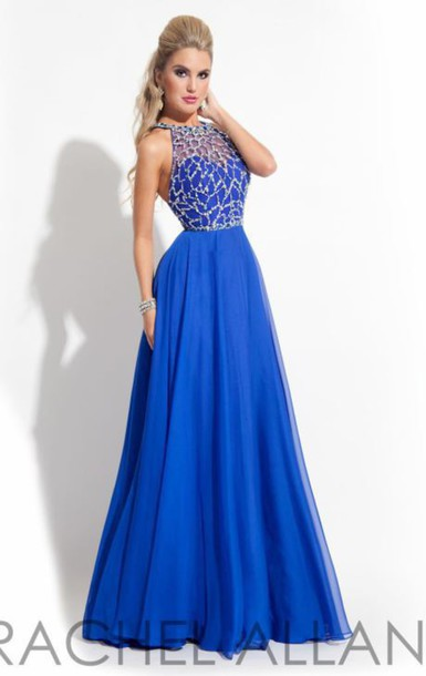 dress royal blue long prom dress high neck prom dress prom dress