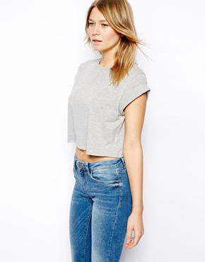 ASOS   ASOS Cropped Boyfriend T-Shirt with Roll Sleeve at ASOS