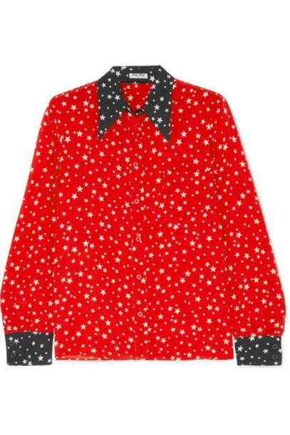 Miu Miu - Printed Silk Crepe De Chine Shirt - Red