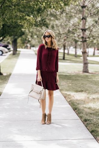 ivory lane blogger dress shoes sunglasses bag jewels booties burgundy dress handbag