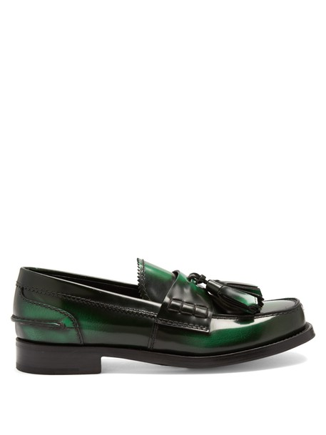 Prada tassel loafers leather green shoes