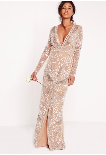 Missguided - Bridal Sequin Wrap Maxi Dress Silver