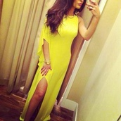 dress,yellow,one shoulder,side split maxi dress