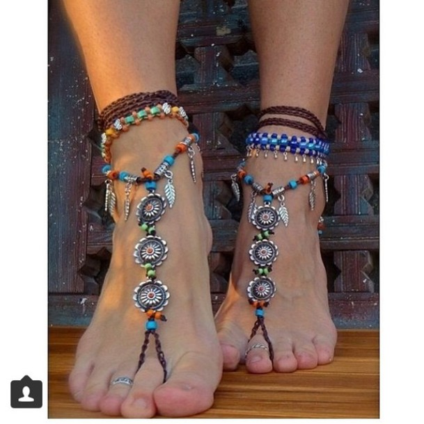 jewels feet foot jewels feet jewels indie cute anklet anklet beaded summer surf sea sun toes feathers feather beads ring braclet bracelets surf