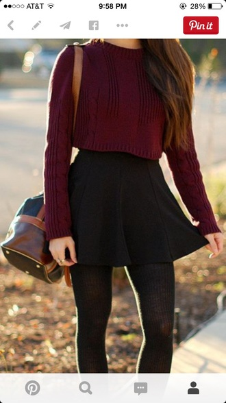 sweater burgundy sweater wine crop tops