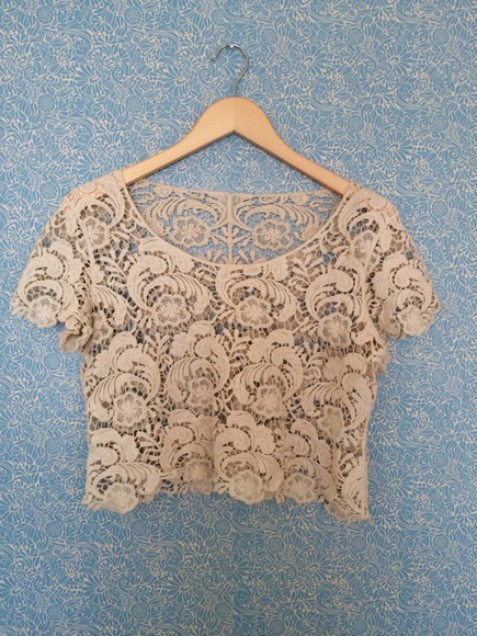 beige dress crop tops blouse crochet vintage