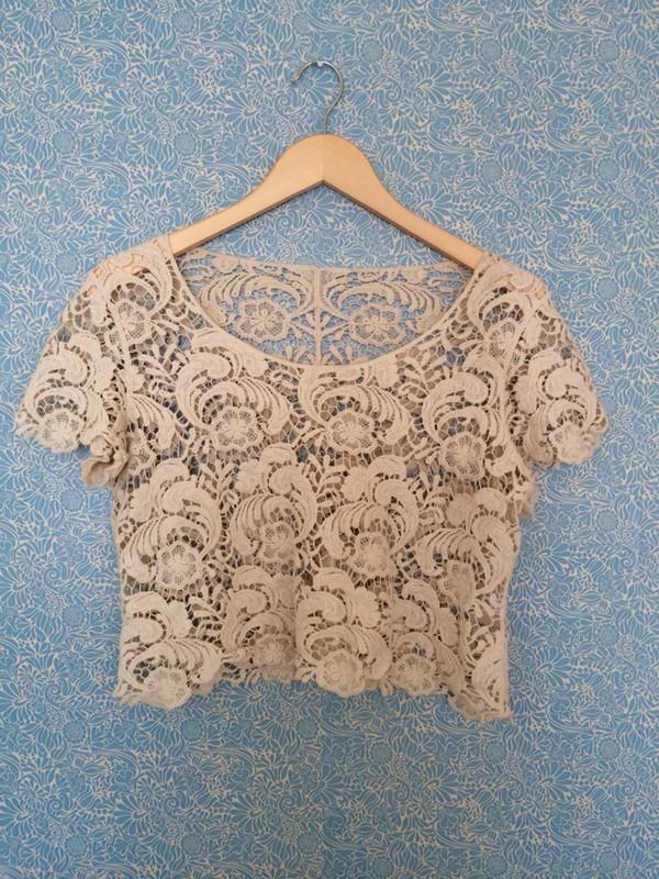 blouse crop tops crochet beige dress vintage