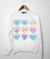 sweater,oversized sweater,sweatshirt,sweet,heart,nice,white pullover,pizza,wanting