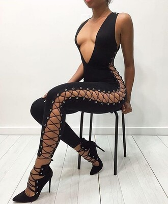 jumpsuit plunge v neck black jumpsuit lace up lace up jumspuit bodycon party outfits sexy sexy outfit summer outfits spring outfits fall outfits cute girly date outfit summer holidays clubwear