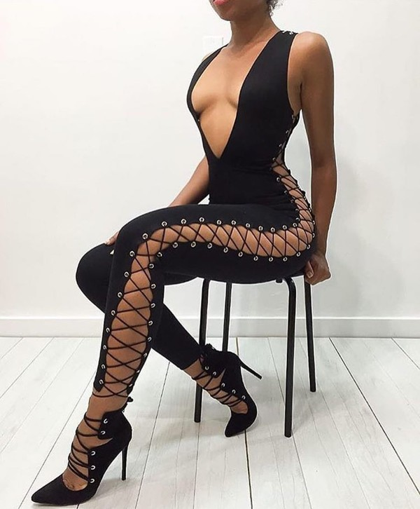 41bcf9dbfdb jumpsuit plunge v neck black jumpsuit lace up lace up jumspuit bodycon  party outfits sexy sexy.