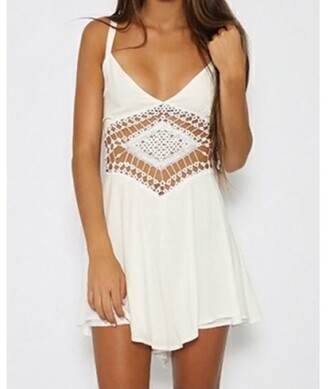 dress girly girl girly wishlist white fashion cute summer beach trendy crochet rose wholesale-ma