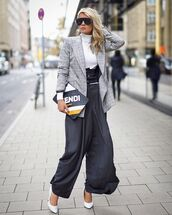 bag,clutch,leather clutch,multicolor,pants,wide-leg pants,pumps,high waisted pants,turtleneck,blazer,check blazer,sunglasses
