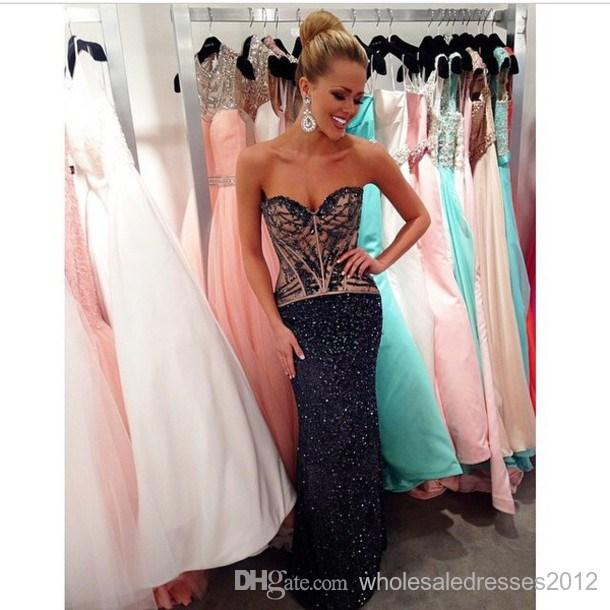 Fashion sweetheart beaded rhinestone sequins sparkly nude lining black sequins mermaid prom dress new fashion online with $144.25/piece on wholesaledresses2012's store