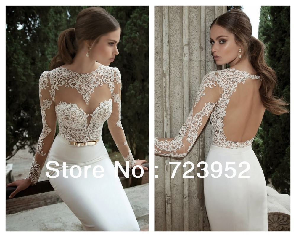 Aliexpress.com : buy vestidos de noiva 2014 berta bridal sexy long sleeves sheer lace sheath wedding dresses satin bridal weddings & events gowns from reliable gown meaning suppliers on suzhou aee wedding dress co. , ltd