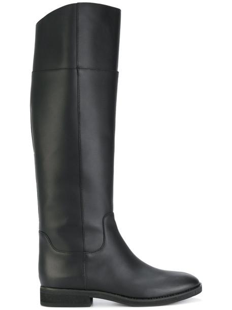 Jil Sander Navy long women riding boots leather black shoes