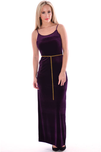 Jill Velour Vlevet Chain Belted Maxi Dress In Purple - Pop Couture
