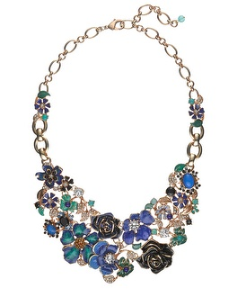 Green/Blue Flower Statement Necklace - White House | Black Market