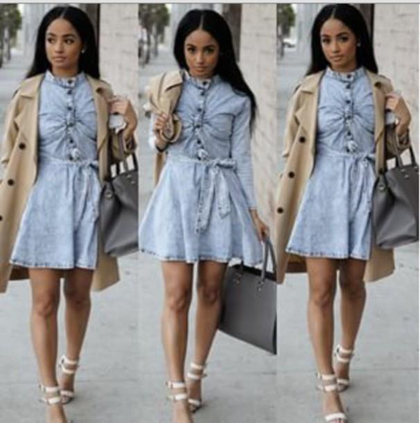 dress kayla phillips jean dress tan trench coat for women grey bag pretty woman denim coat