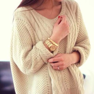 sweater gold watch bracelets cream knit winter outfits fall outfits chunky sweater jewels girl beautiful white knitted sweater white knit sweater weheartit tumblr coat knitwear cozy winter sweater pullover beige creme ecru gold watch shirt christmas white shirt