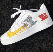 shoes,nike air force 1,tom & jerry,tom and jerry,nike,nike shoes