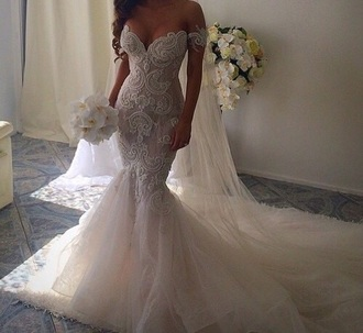dress wedding lace dress prom dress wedding dress gown prom gown lace dress clothes white wedding lace dress lace wedding dress white wedding dress beautiful gown white wedding dress white lace dress white lace white dress white beaded dress long dress