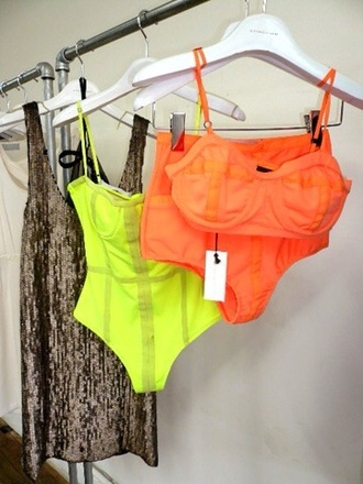 swimwear yellow orange swimwear one piece swimsuit yellow swimwear neon swimsuit swimming costume