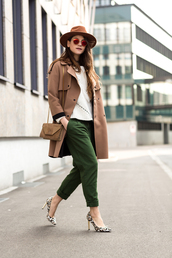 the fashion fraction,blogger,hat,sunglasses,cropped pants,stilettos,trench coat,beige coat,suede bag