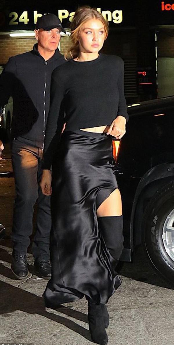 Skirt Slit Maxi Skirt Slit Skirt Gigi Hadid Black Top