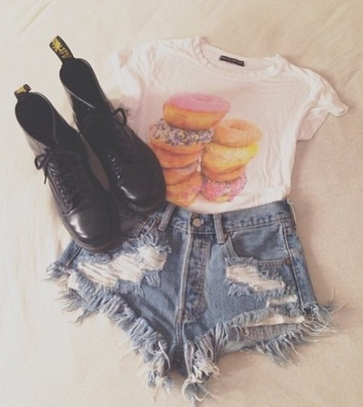 food colorful t-shirt shirt donut