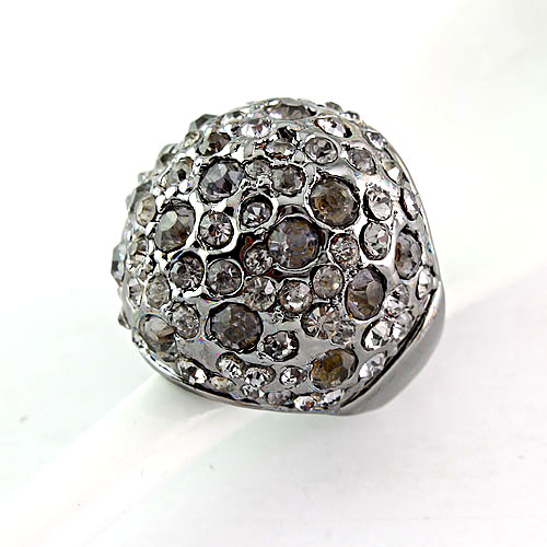 Elegant Antique Pave Rhinestone Cocktail Dome Ring - DualShine