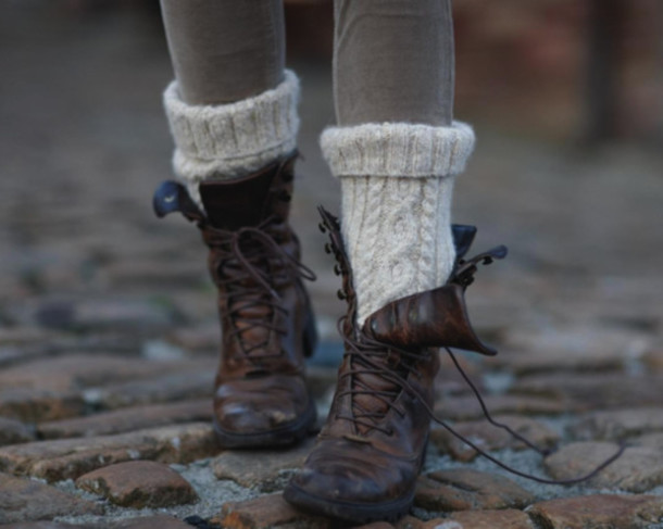 shoes boots vintage clothes socks brown leather boots brown combat boots fall outfits knitted socks leather pants lace up ankle boots cute hipster sweet winter boots