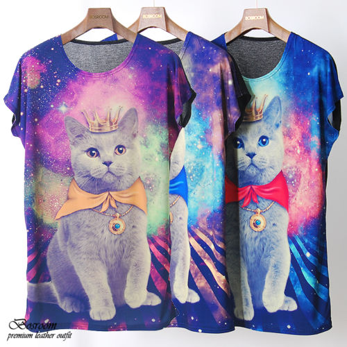 BR Unisex Women Men Galaxy Cat Graphic Print T Shirt Long Rock Punk Top Dress | eBay