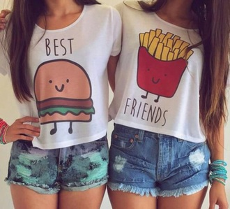 tank top hamburger pommes mcdonalds bff white top bestfriend shirt bff sweaters bff matching sweaters white top