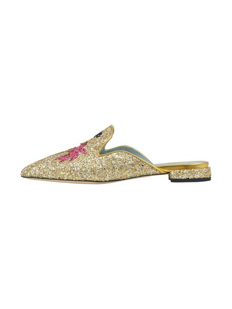 Chiara Ferragni slippers gold shoes