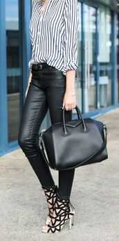 shoes,black and white,laser cut,strappy,heels,black and white shoes,laser cut heels,bag