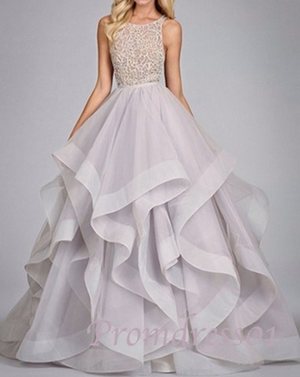 dress prom long prom dress prom gown white top layers skirt formal back to school formal dress